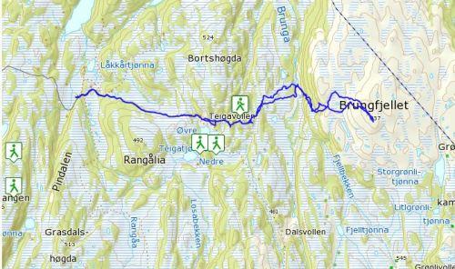 GPS-spor Brungfjellet